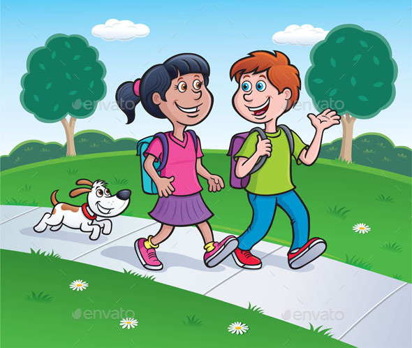 GraphicRiver Girl Boy and Dog Walking Home 9238183