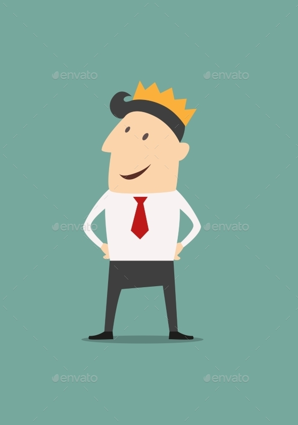 GraphicRiver Cartoon businessman wearing a crown 9238230