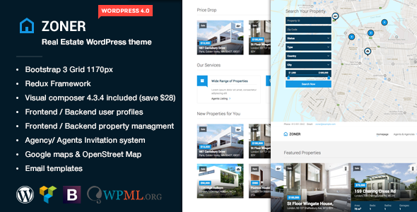 ThemeForest Zoner Real Estate WordPress theme 9099226