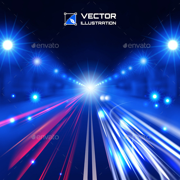 GraphicRiver Blue Tint Night Road 9238359