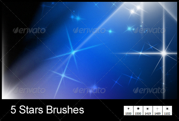 GraphicRiver 5 New Stars Brushes 942732