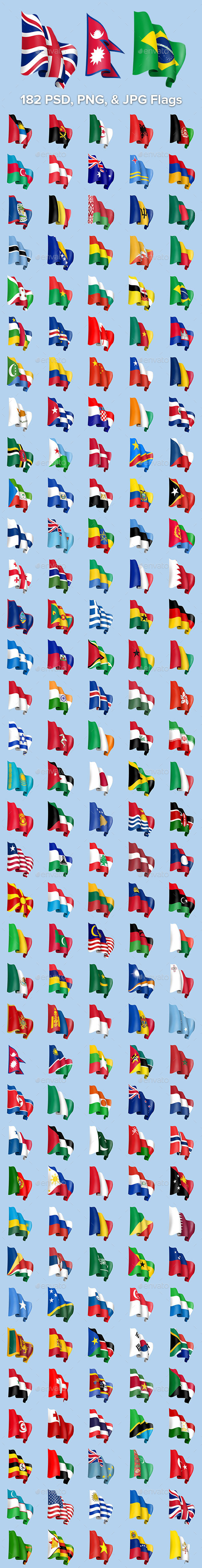GraphicRiver 182 Waving Country Flags 9239362