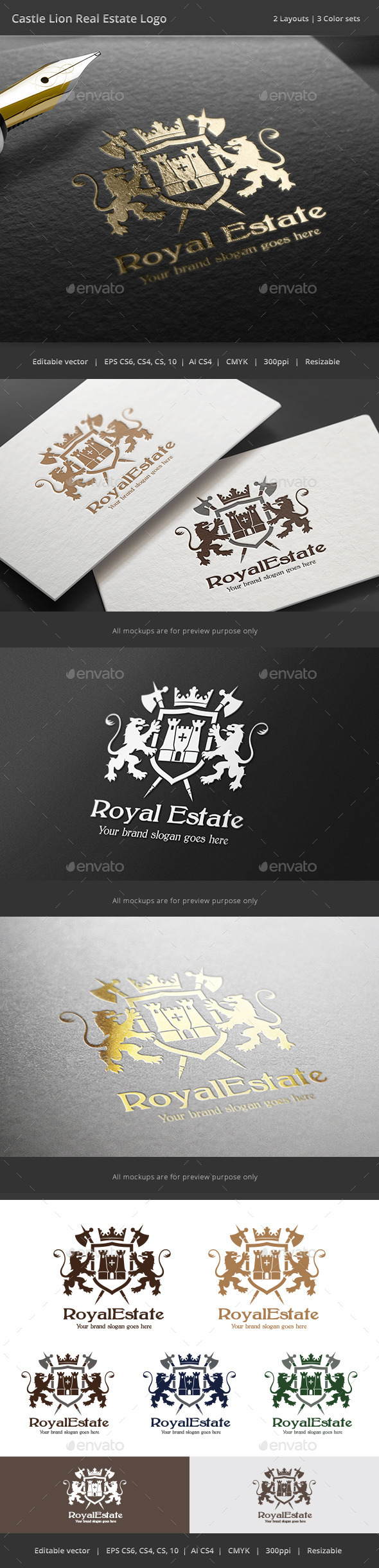 GraphicRiver Castle Lion Real Estate Logo 9240575