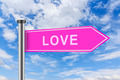 pink road sign with love word - PhotoDune Item for Sale