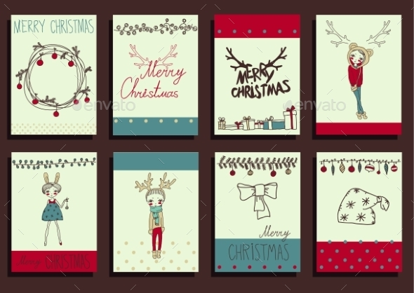 GraphicRiver Vector Set Christmas Calligraphic Design Elements 9241125