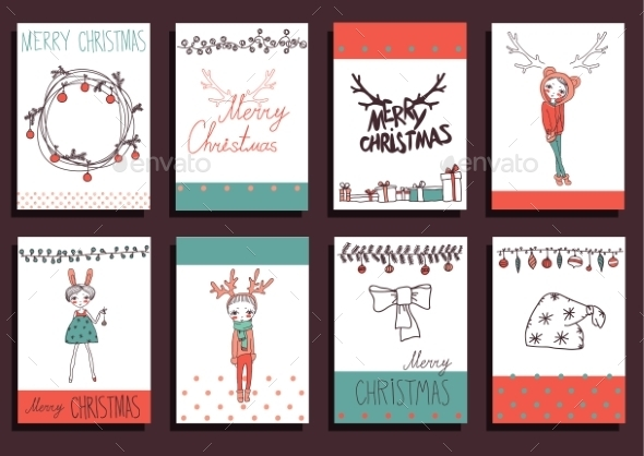 GraphicRiver Vector Set Christmas Calligraphic Design Elements 9241127