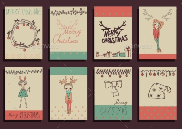GraphicRiver Vector Set Christmas Calligraphic Design Elements 9241129