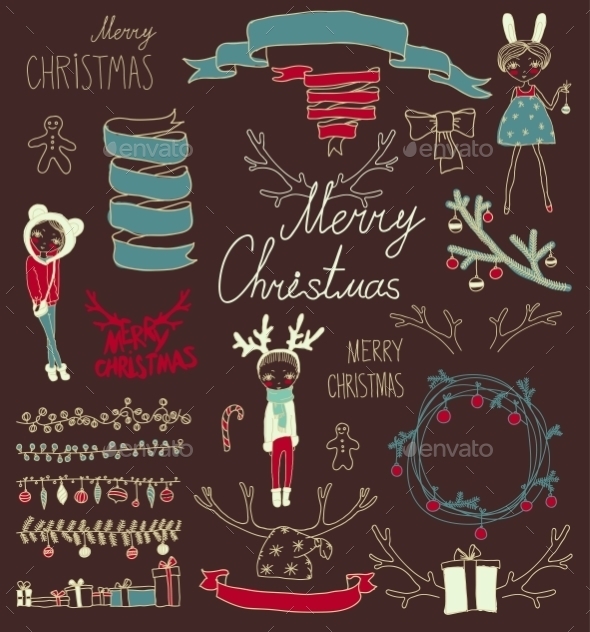 GraphicRiver Vector Set Christmas Calligraphic Design Elements 9241136