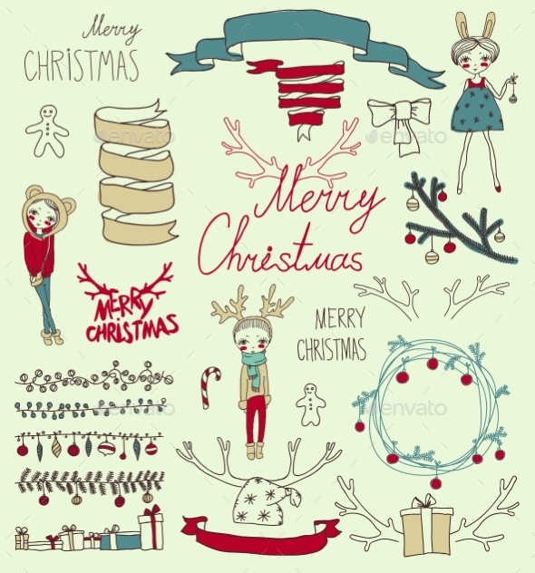 GraphicRiver Vector Set Christmas Calligraphic Design Elements 9241139