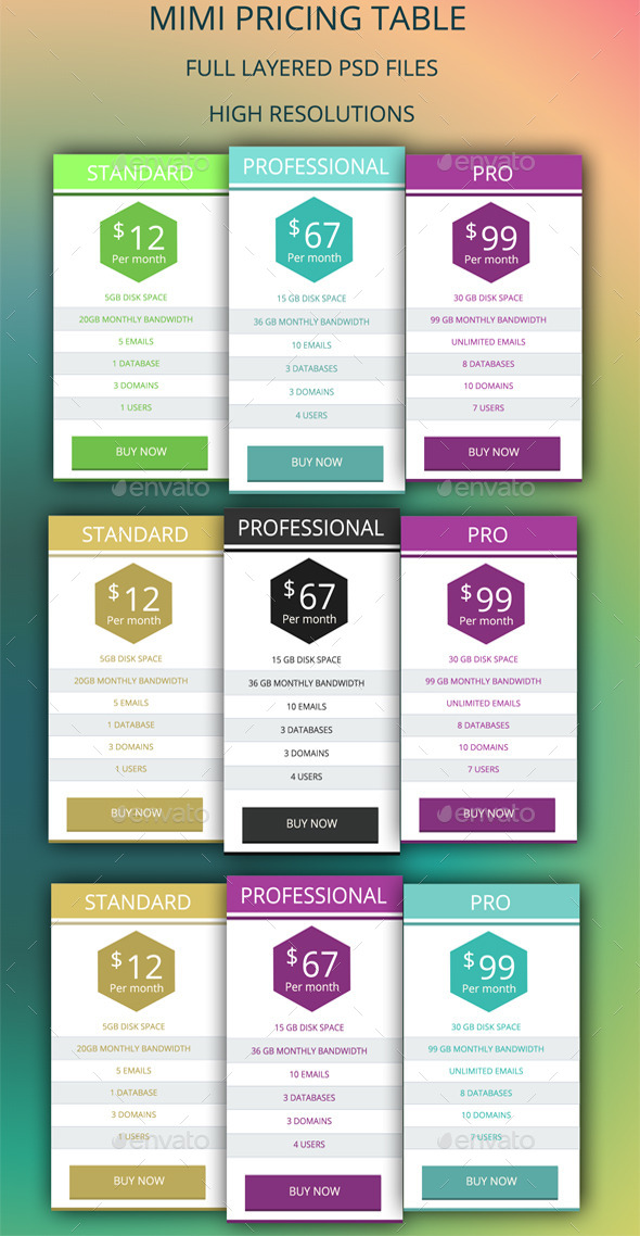 GraphicRiver Mimi Pricing Table 9241206