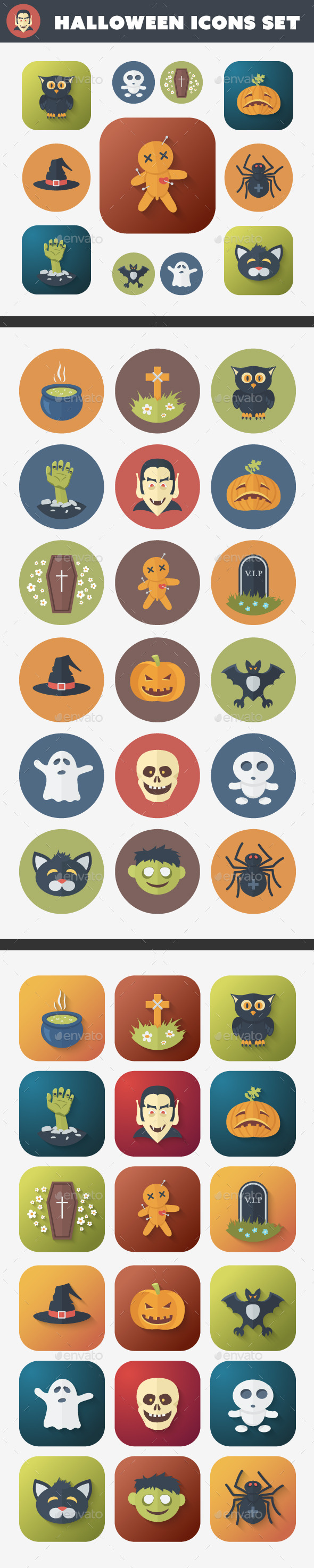 GraphicRiver Halloween Flat Icons Set 9241289