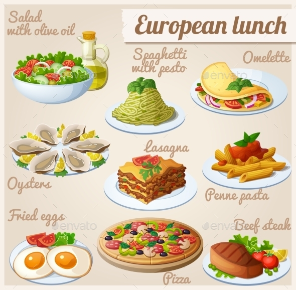 GraphicRiver Set of Food Icons European Lunch 9241703