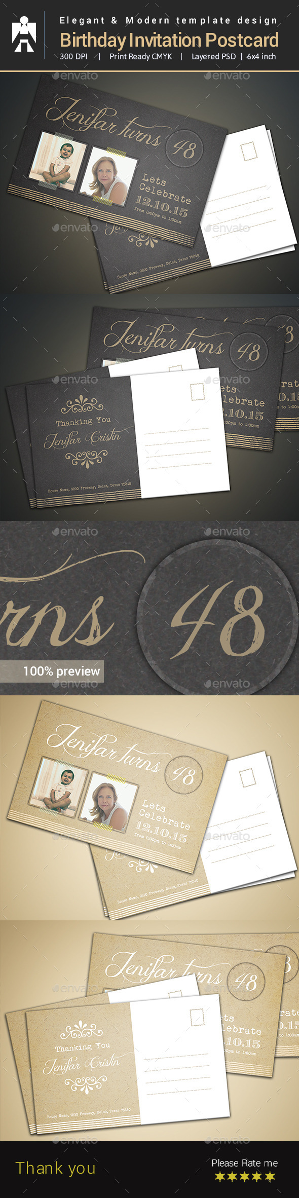 GraphicRiver Birthday Invitation Postcard Template 9242157