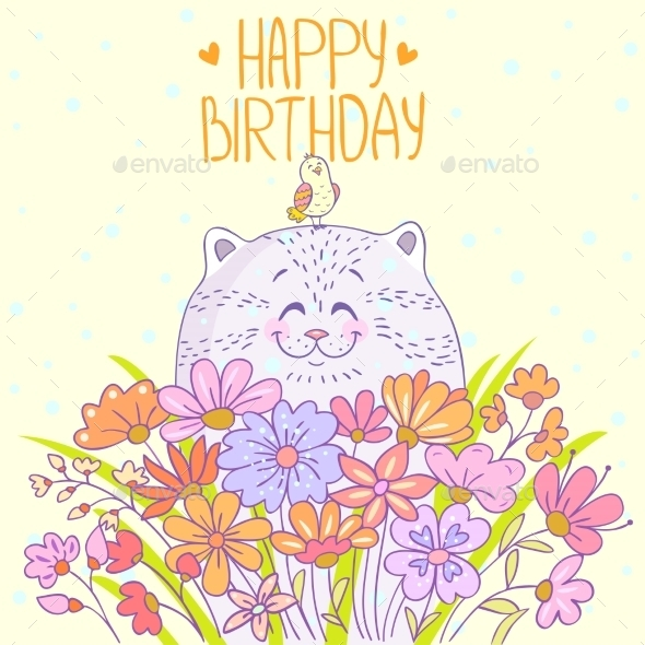 GraphicRiver Cat Happy Birthday 9242209
