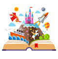 Imagination concept - open book illustration