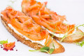 sandwiches with salmon caviar and greens adorned - PhotoDune Item for Sale