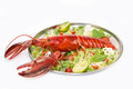 lobster with fresh herbs and lemon on a white background - PhotoDune Item for Sale