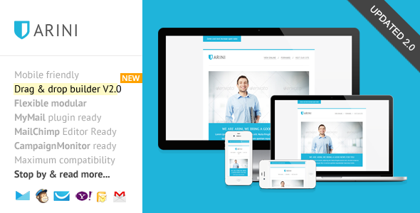 Arini Responsive Newsletter with Template Builder