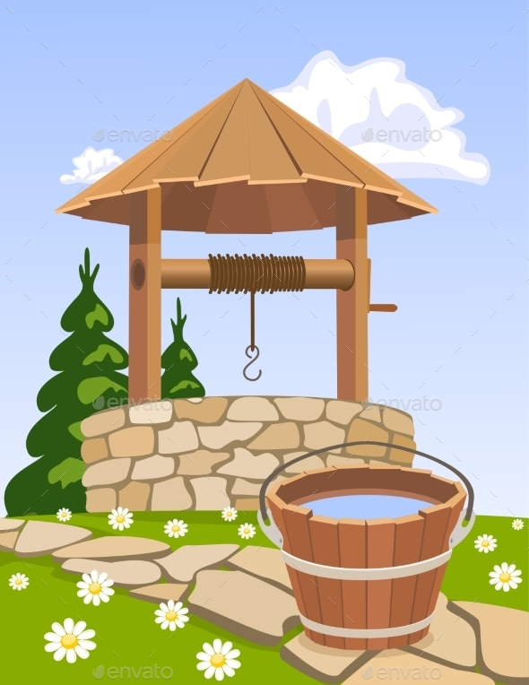 GraphicRiver Old Wooden Well and Bucket of Water 9243942