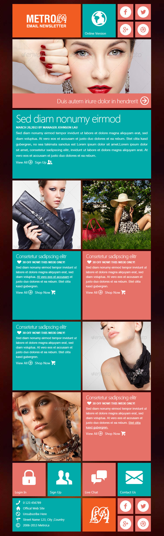 MetroLa-Metro Style Responsive Email With Builder