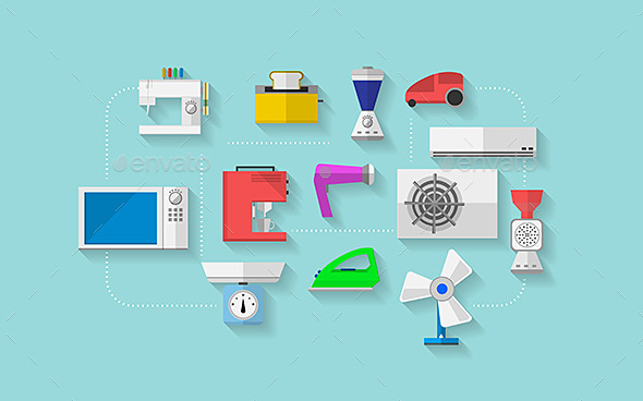 GraphicRiver Flat Vector Icons for Household Appliances 9244066