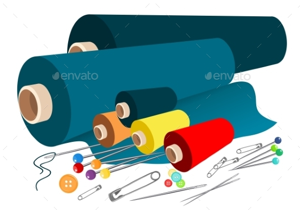 GraphicRiver Vector Fabric Sewing Accessories 9244105