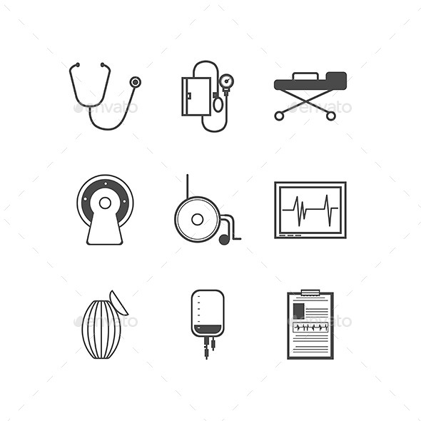 GraphicRiver Black Vector Icons for Resuscitation 9244115