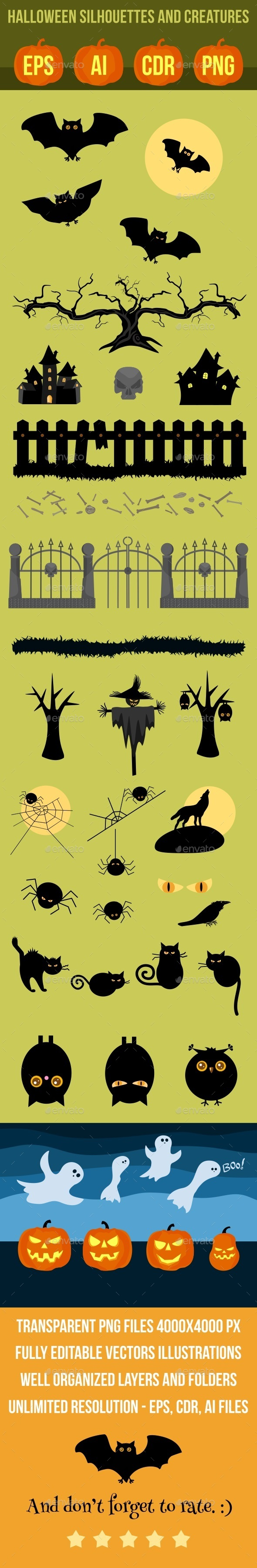 GraphicRiver Halloween Vector Silhouettes and Creatures 9244117