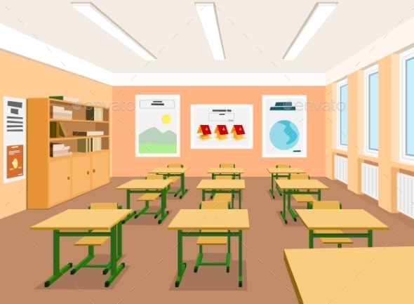 GraphicRiver Vector Illustration of an Empty Classroom 9244136