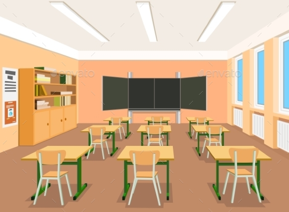 GraphicRiver Vector Illustration of an Empty Classroom 9244138
