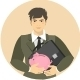 Businessman with a Piggy Bank and a Portfolio - GraphicRiver Item for Sale