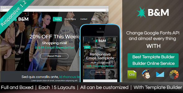 B&M - Responsive Email With Template Builder - Email Templates Marketing