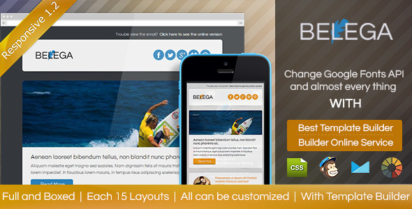 BELEGA-Flat Responsive Email With Template Builder - Email Templates Marketing