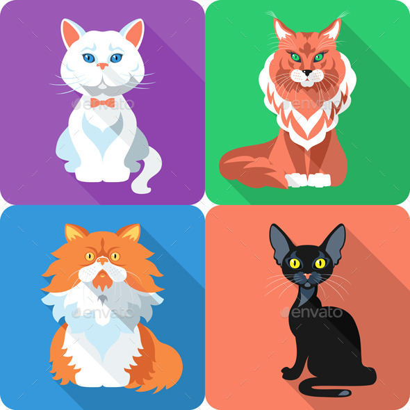 GraphicRiver Set Cat Icon Flat Design 9244941