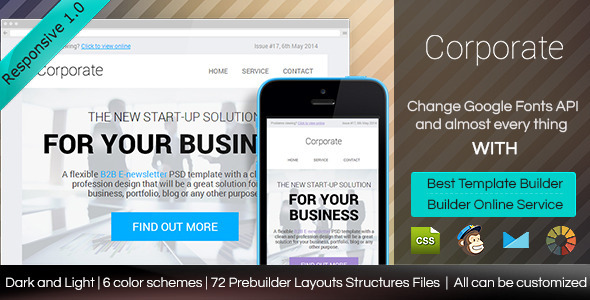 Corporate - Responsive Email Template With Builder - Email Templates Marketing