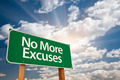 No More Excuses Green Road Sign with Dramatic Clouds and Sky. - PhotoDune Item for Sale