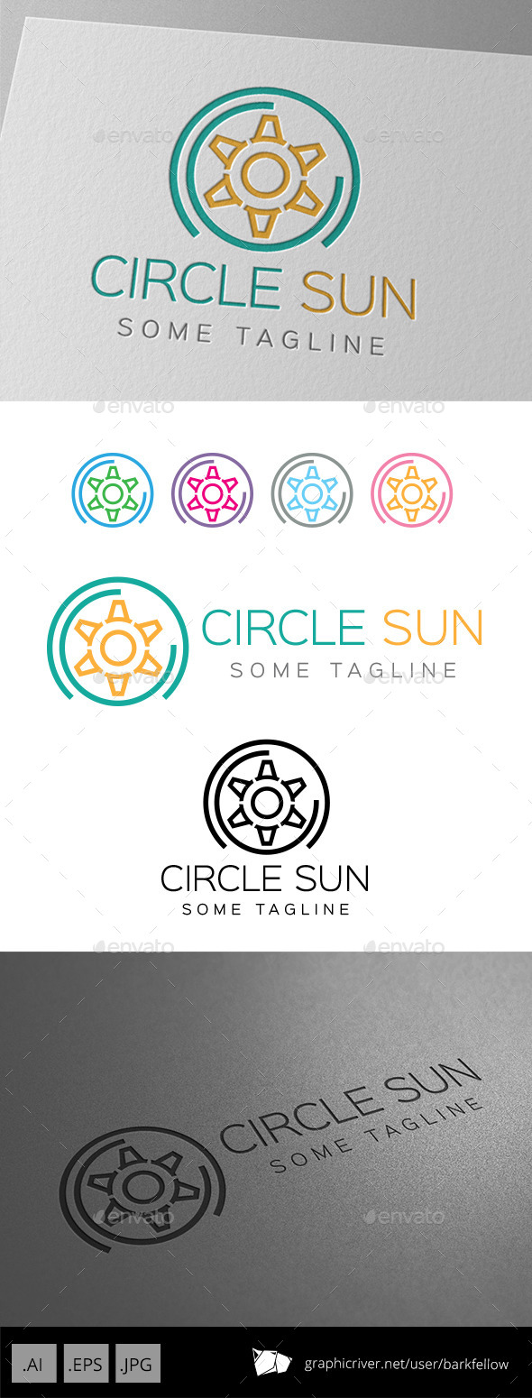 GraphicRiver Six Side Circle Sun Logo 9249334