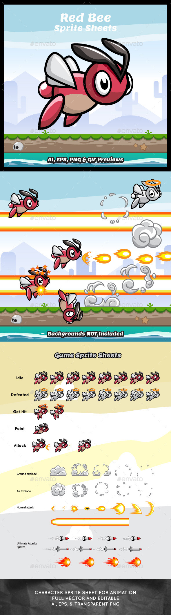 GraphicRiver Red Bee Game Character Sprite Sheets 9249804