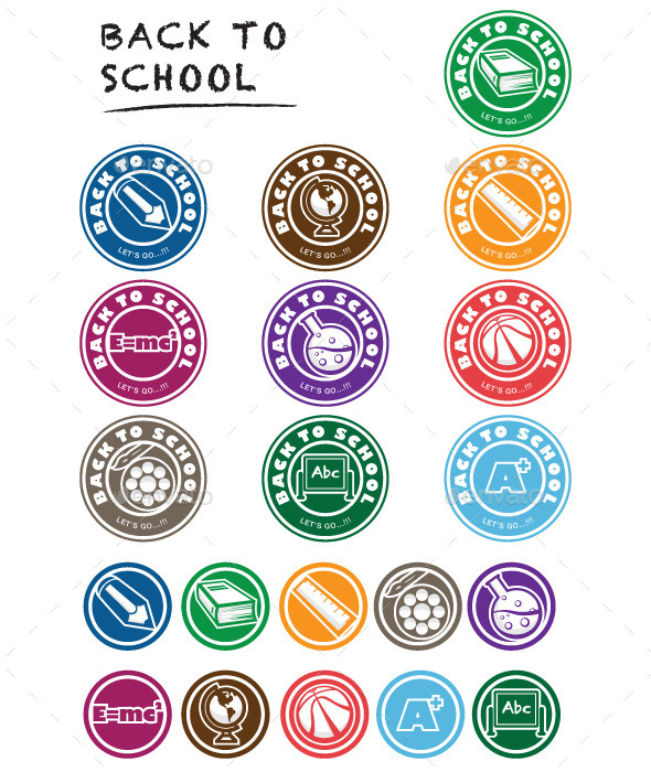 GraphicRiver Back to School Icon Set Labels 9250137
