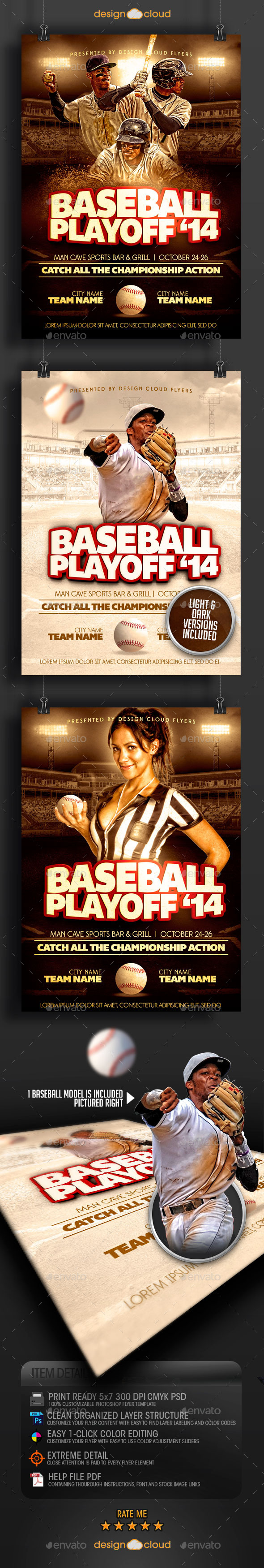 GraphicRiver Baseball Playoff 14 Flyer Template 9201081