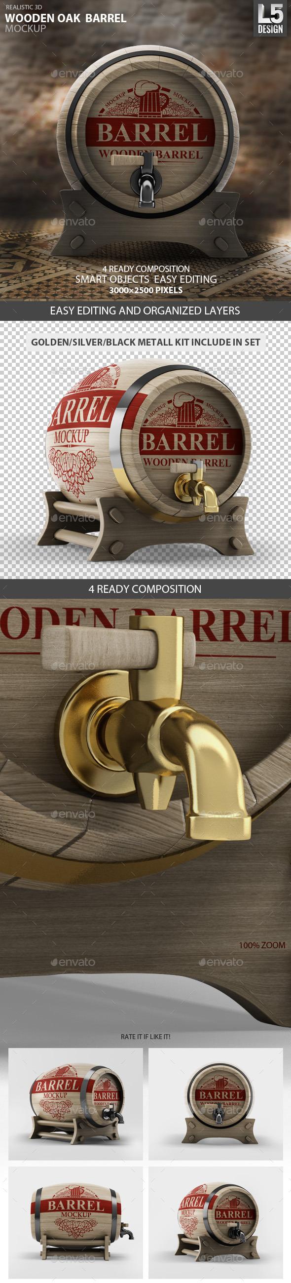 GraphicRiver Wooden Oak Barrel Mock-up 9250528