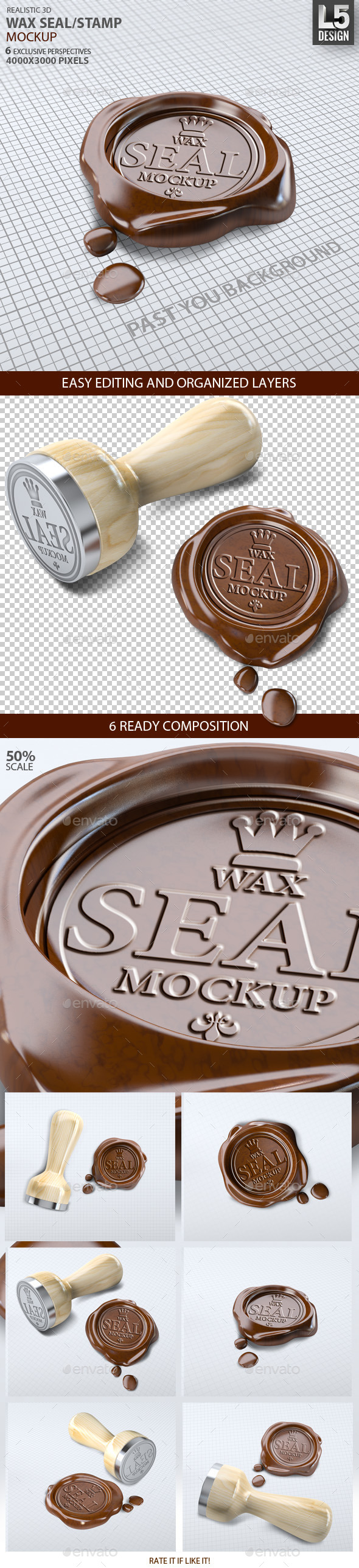 GraphicRiver Wax Seal Stamp Mock-up 9250563