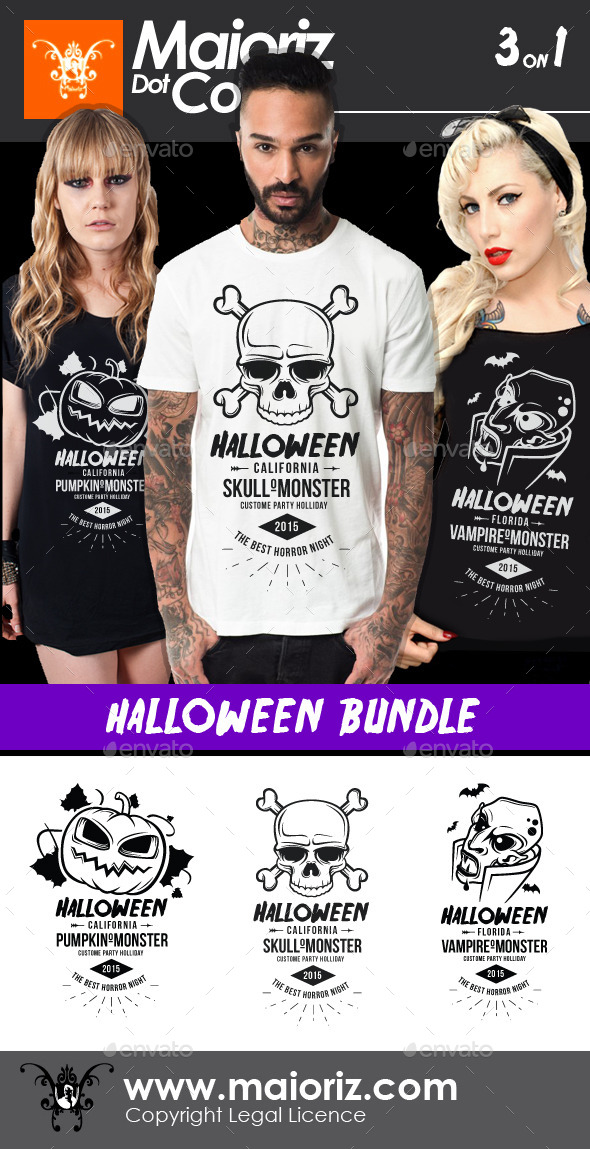GraphicRiver Halloween Tshirt Bundle 9250759
