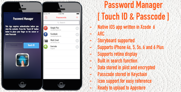 CodeCanyon Password Manager Touch ID & Passcode iOS App 9251024