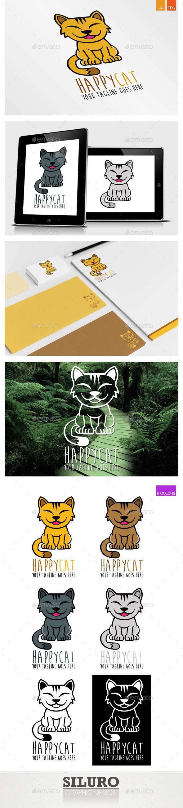 GraphicRiver Happy Cat Logo 9251066