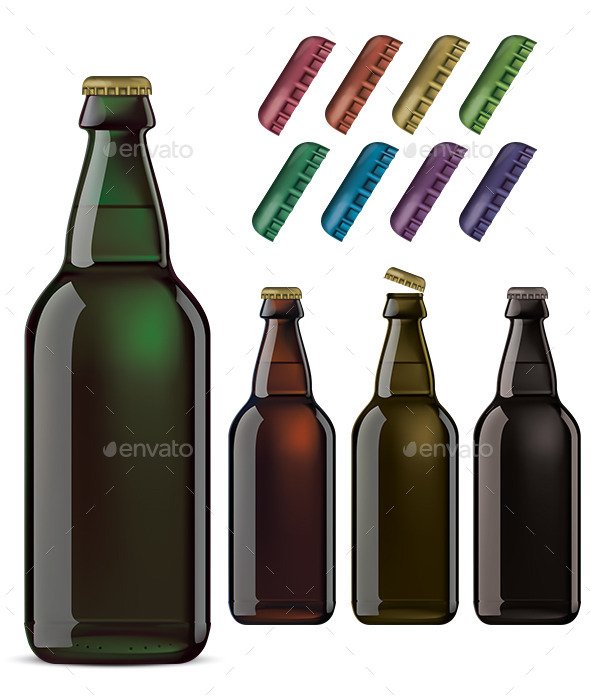 Beer Bottles and Colorful Cover Isolated