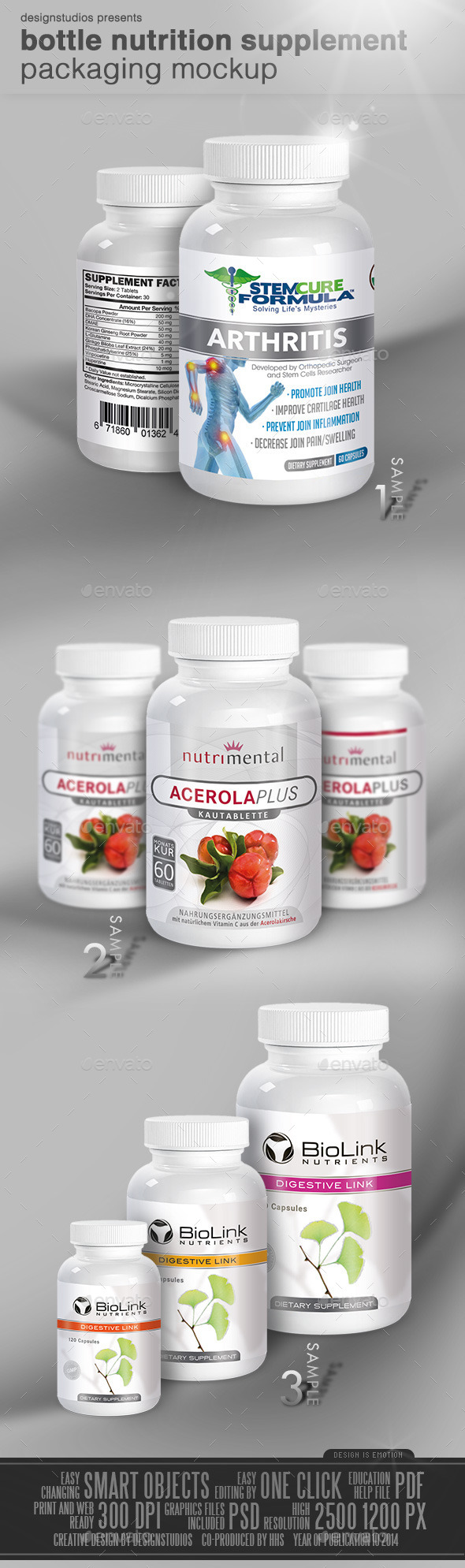 GraphicRiver Bottle Nutrition Supplement Packaging Mock-Up 9251421