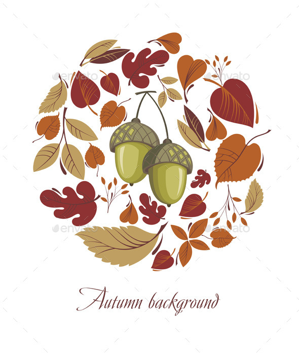 GraphicRiver Autumn Leaves with Acorn 9251507