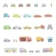 Stylish Retro Car Line Icons Set Isolated - GraphicRiver Item for Sale