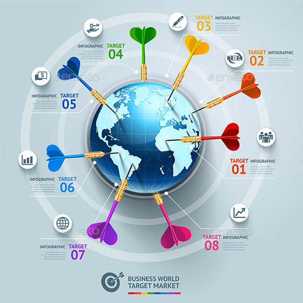 Business World Target Marketing Dart Infographic
